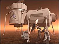 Ilustração de base em Marte (Esa)